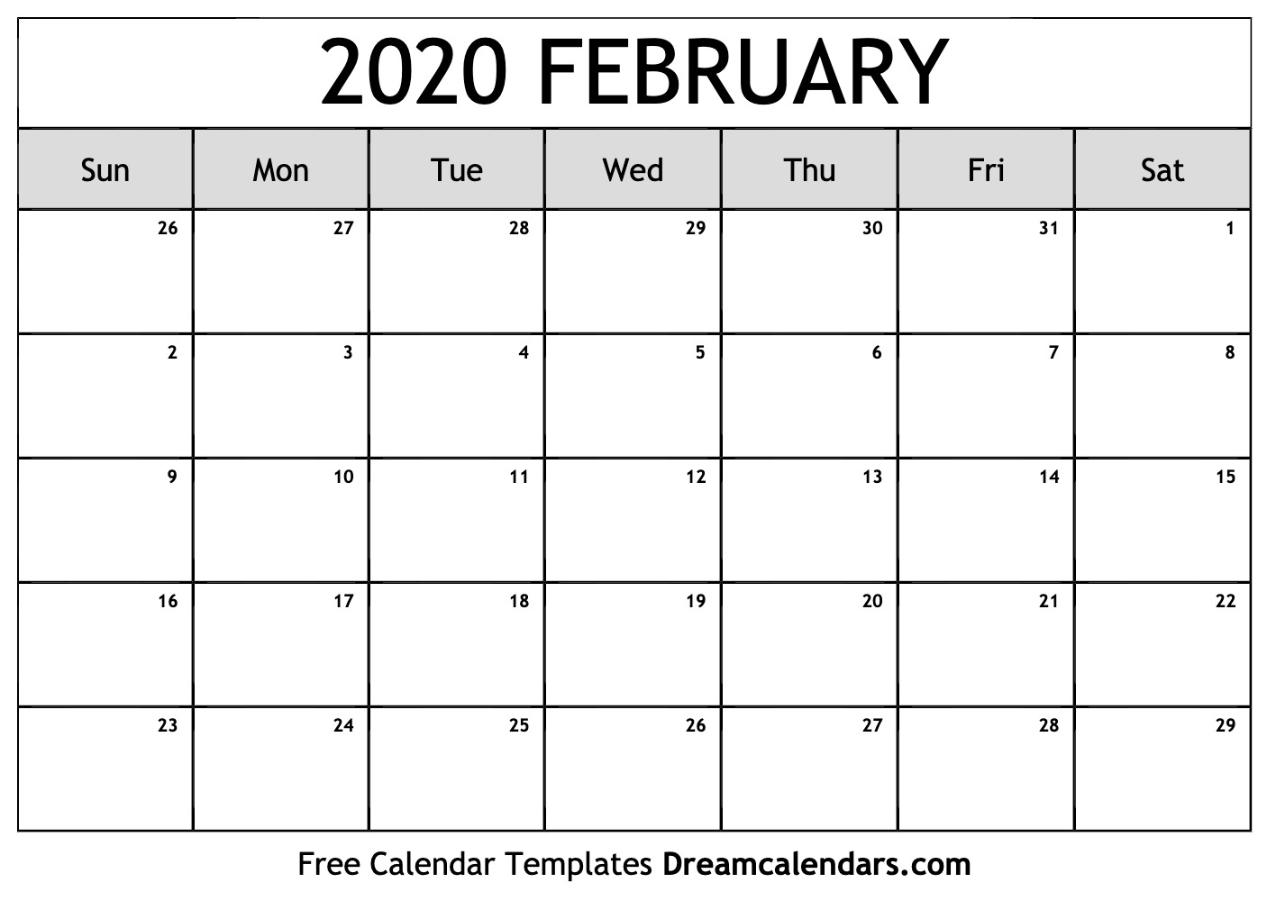 Free February 2020 Printable Calendar | Dream Calendars