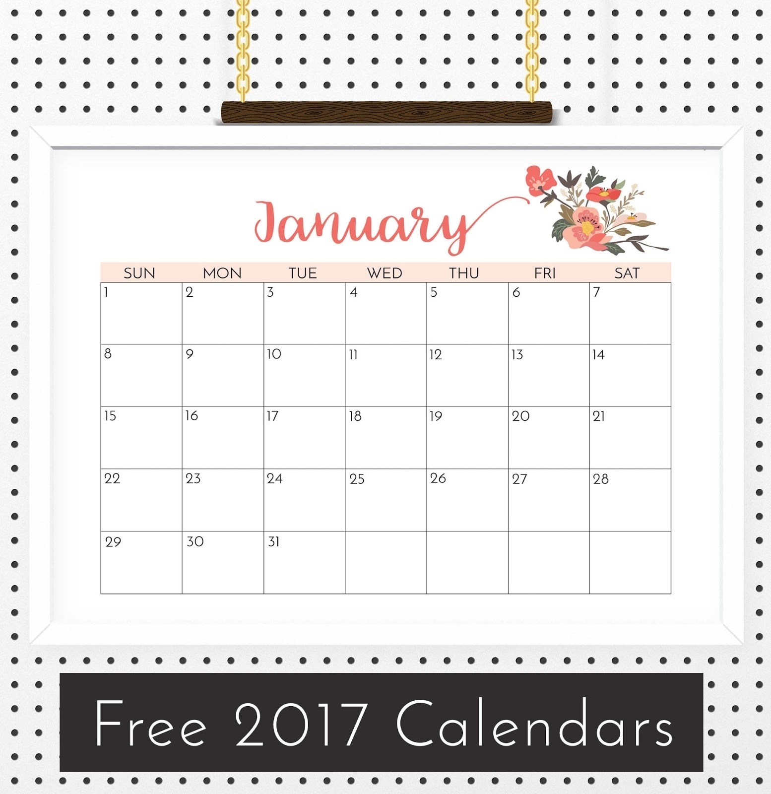 Free Floral Calendar 2017 - Crafting In The Rain