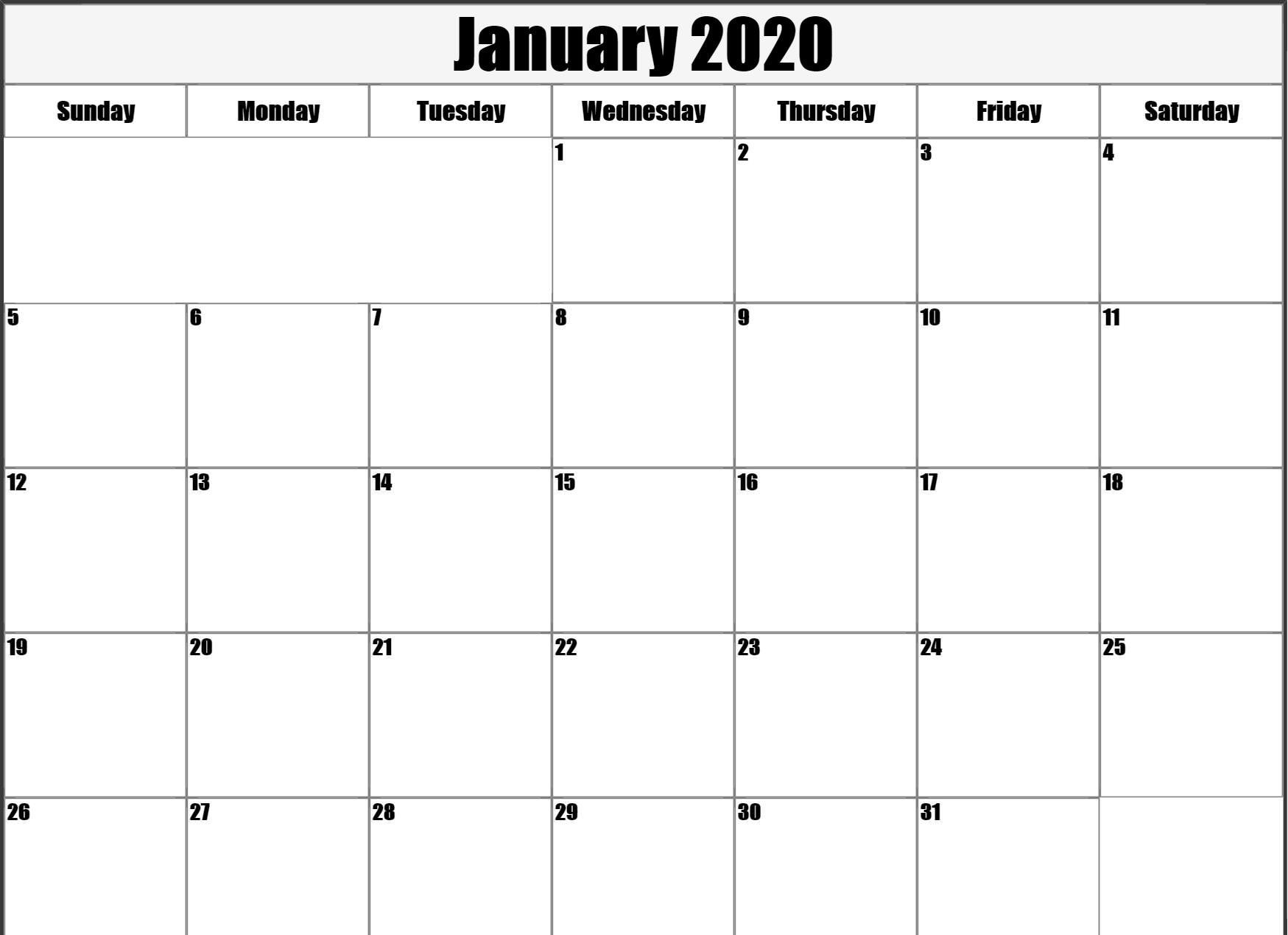 Free January 2020 Calendar Printable Template Blank