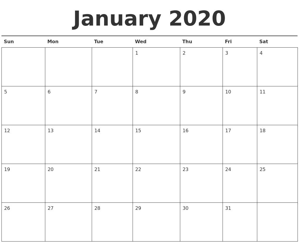Free January 2020 Printable Calendar - Create Your Editable