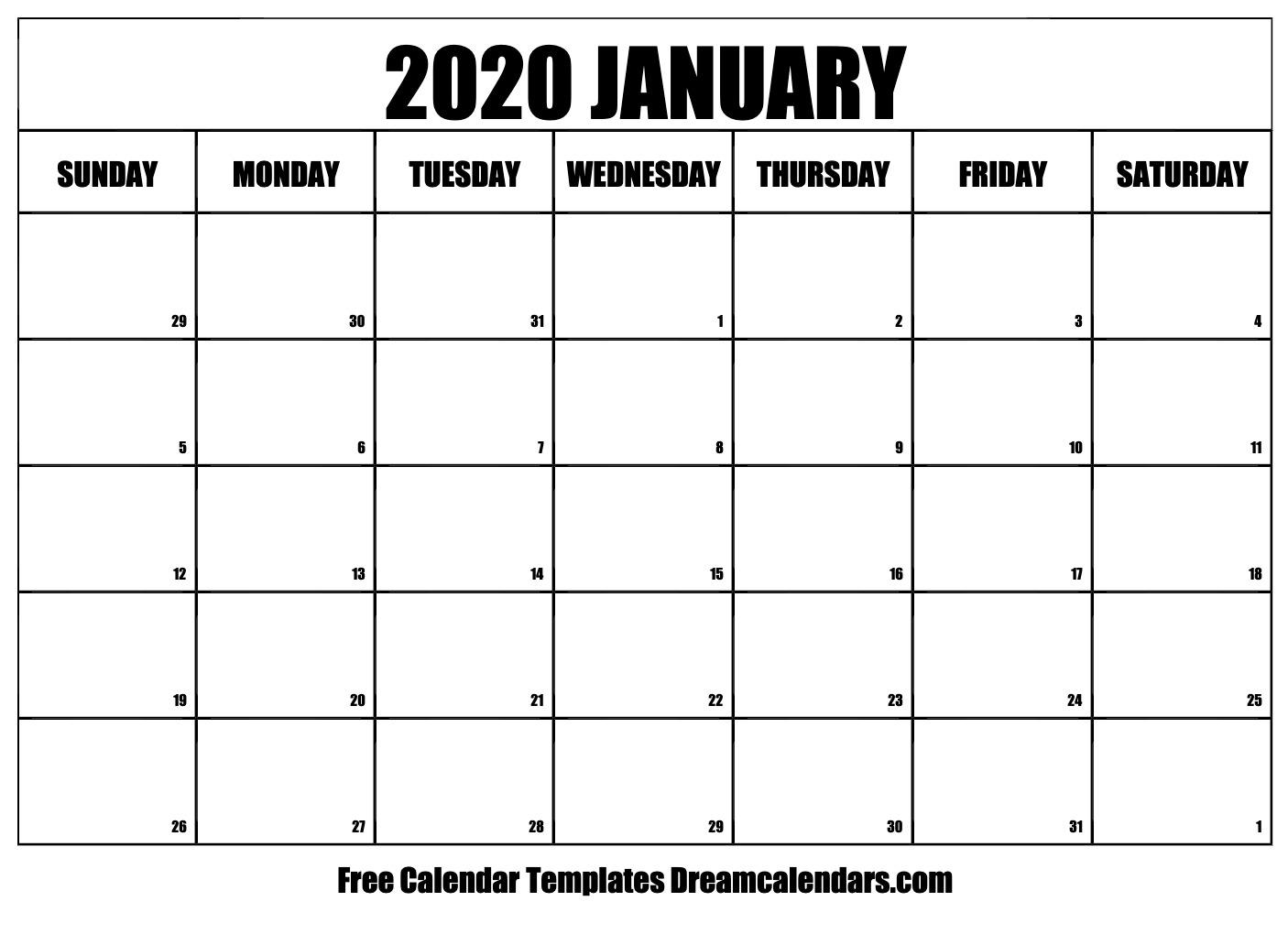 Free January 2020 Printable Calendar | Dream Calendars