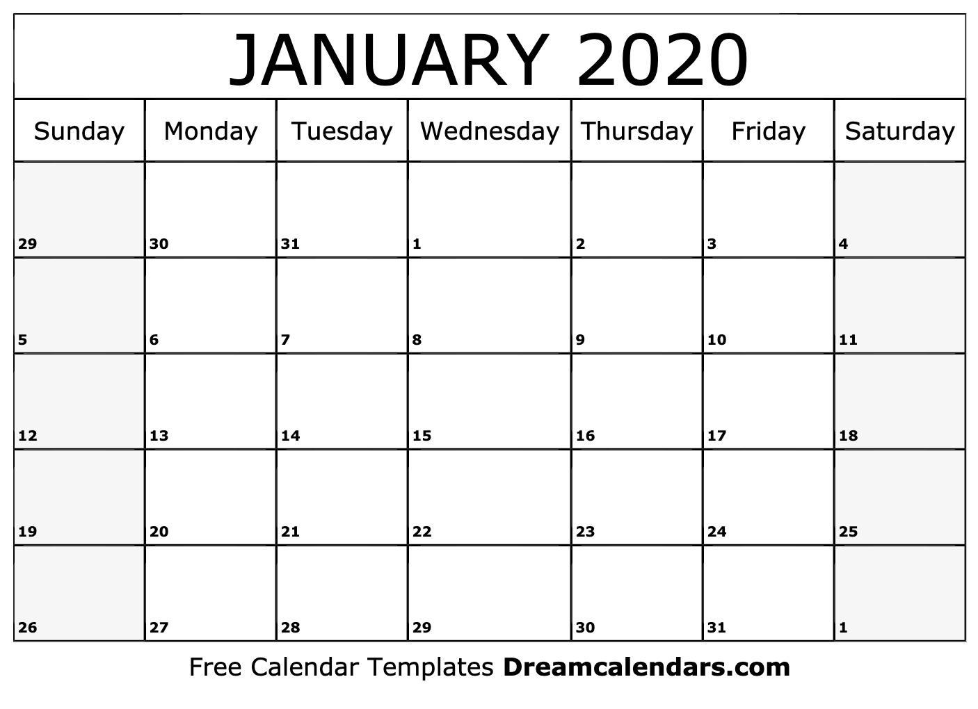 Free January 2020 Printable Calendar | Dream Calendars