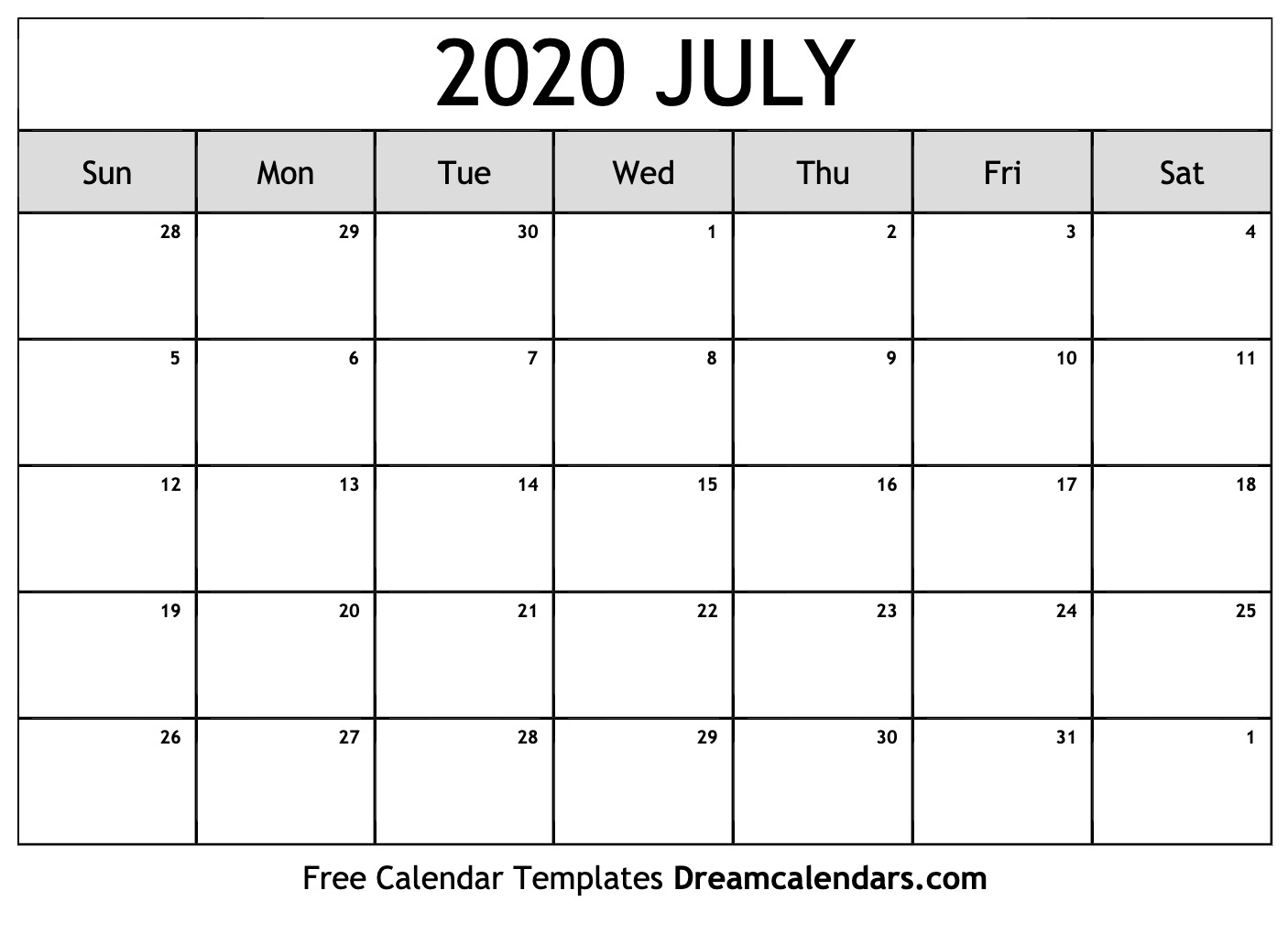 Free July 2020 Printable Calendar | Dream Calendars