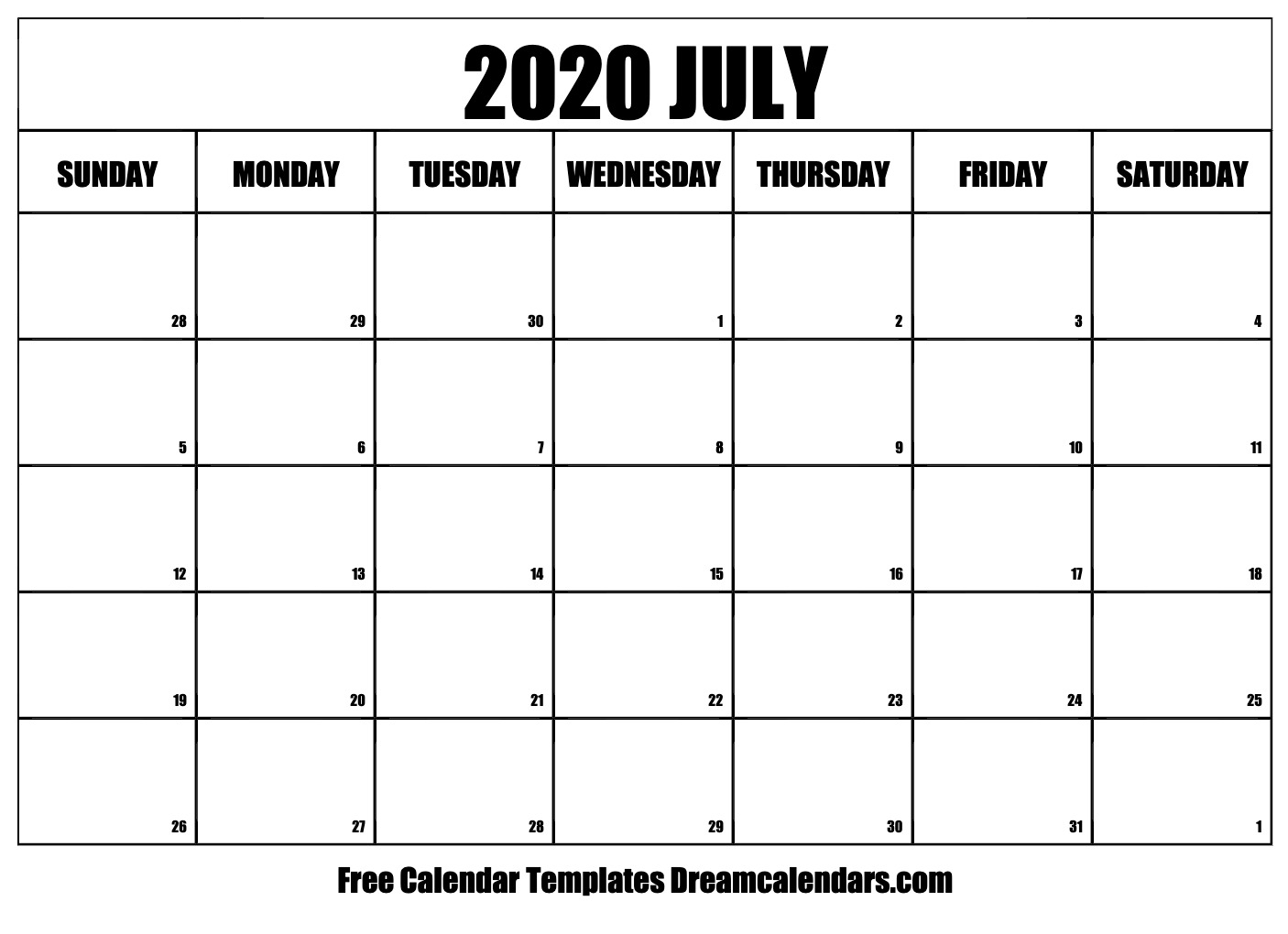 Free July 2020 Printable Calendar | Dream Calendars