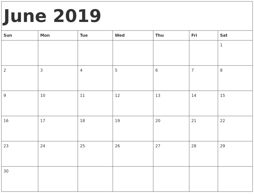 Free June 2019 Printable Calendar Blank Templates
