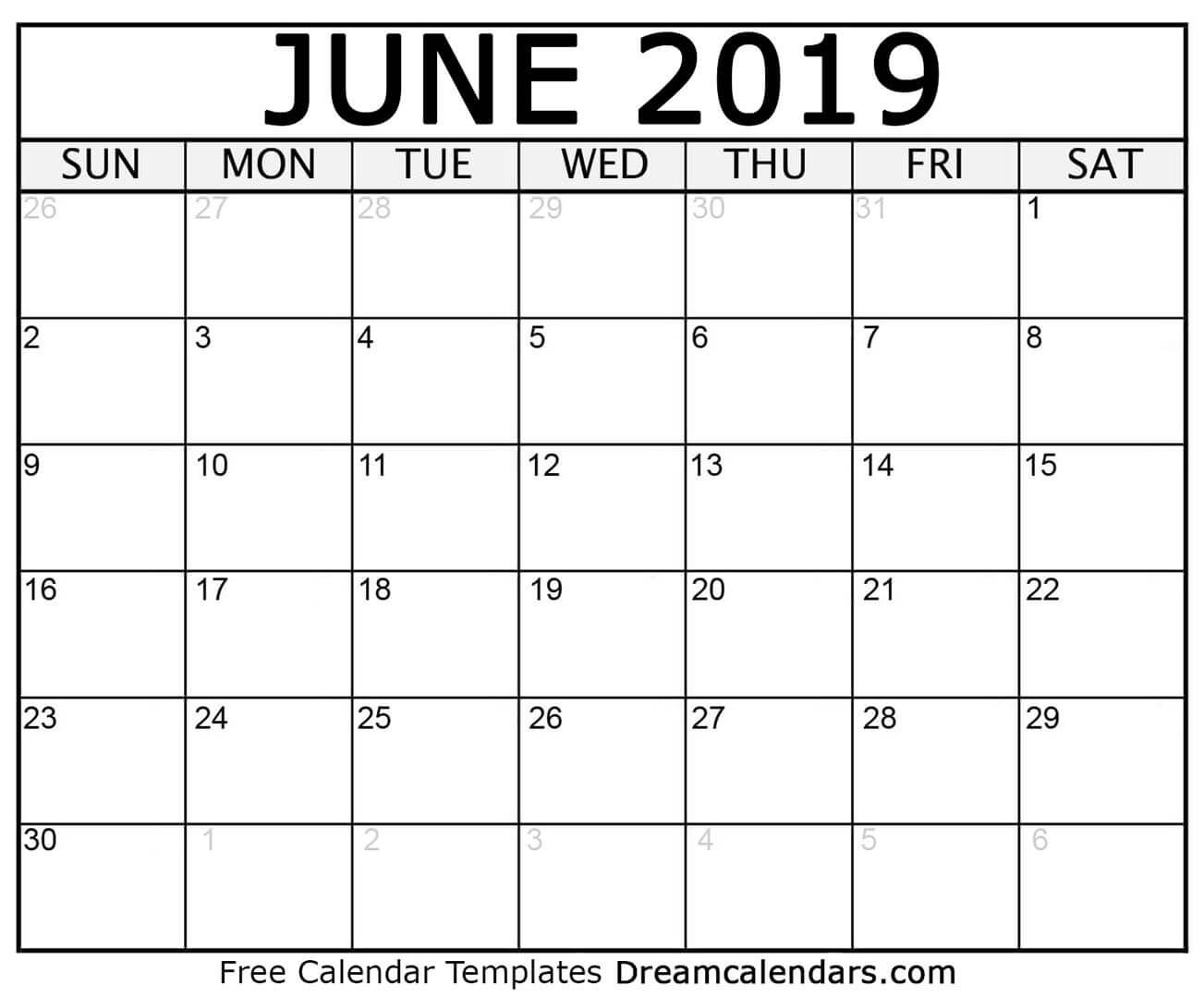 Free June 2019 Printable Calendar | Dream Calendars