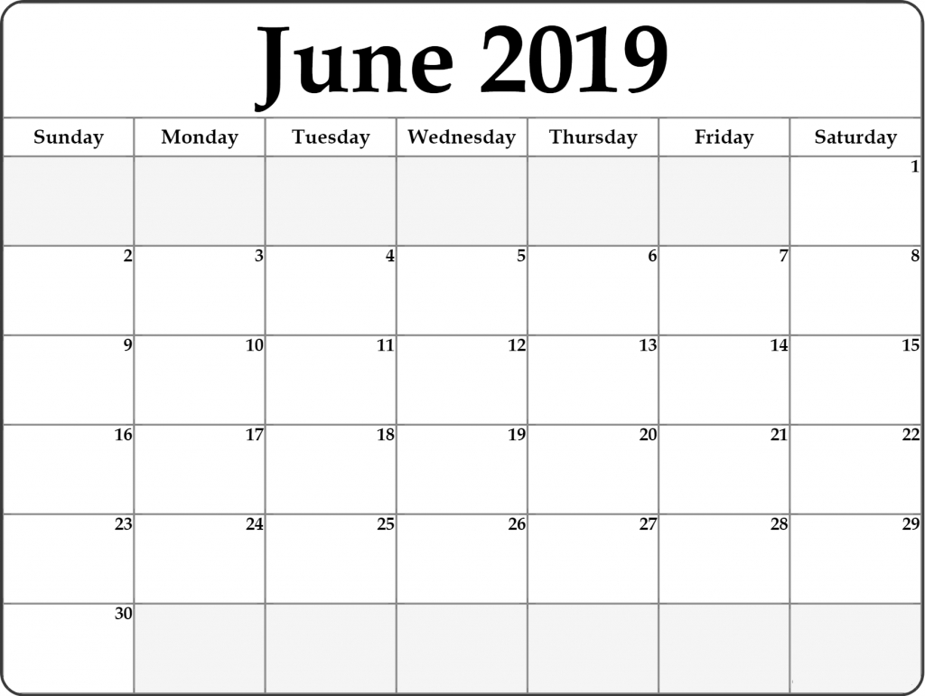 Free June 2019 Printable Calendar Templates Pdf Word Excel
