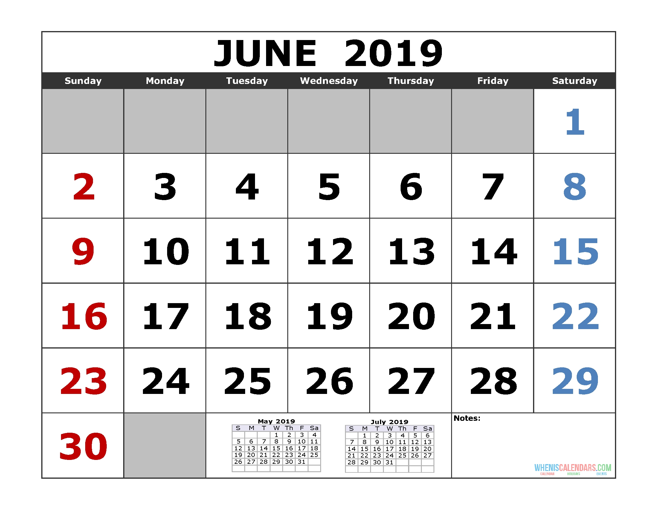 Free June 2019 Printable Calendar Templates [Us. Edition