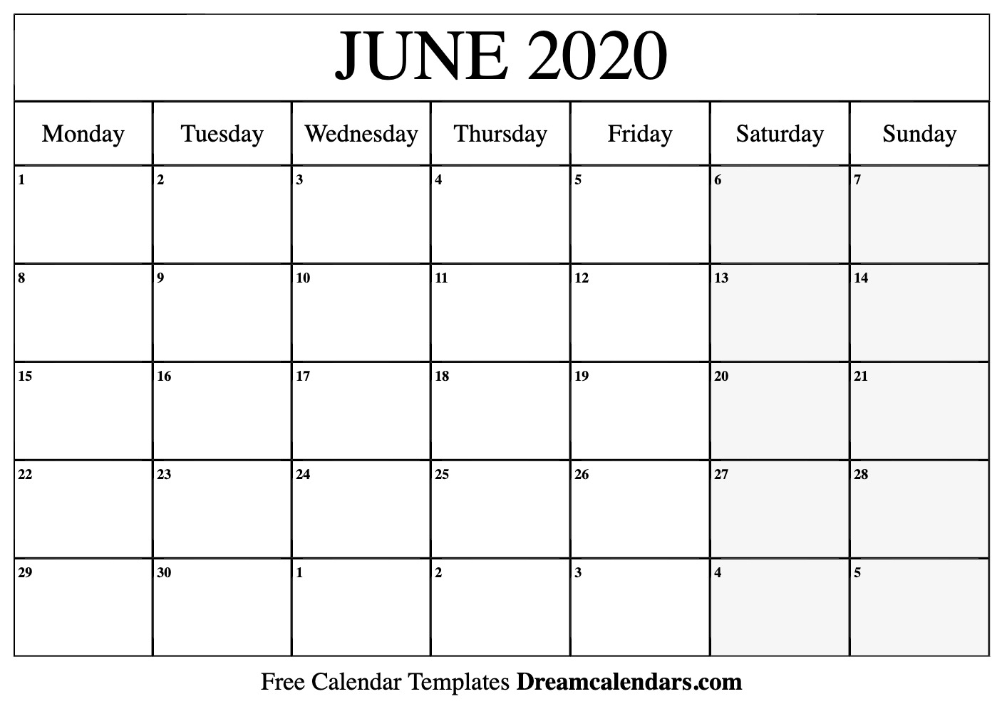 Free June 2020 Printable Calendar   Dream Calendars