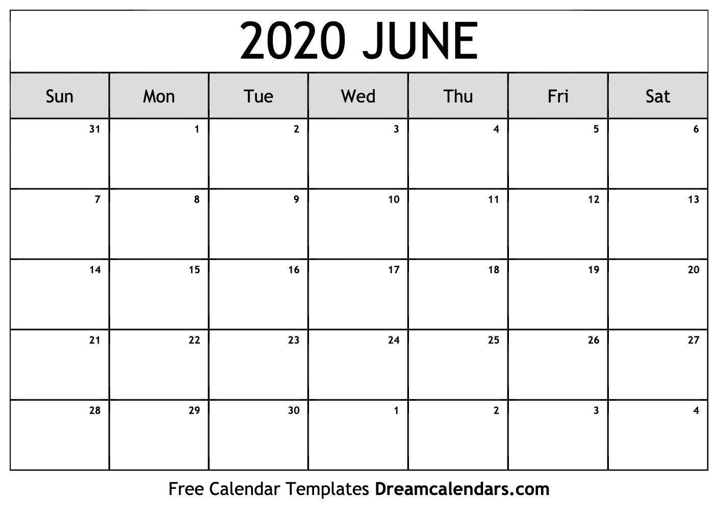 Free June 2020 Printable Calendar | Dream Calendars