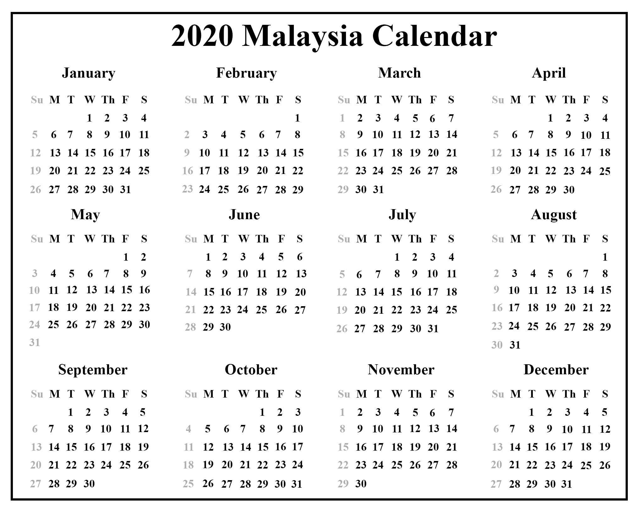 Free Malaysia Calendar 2020 With Holidays {Pdf & Excel