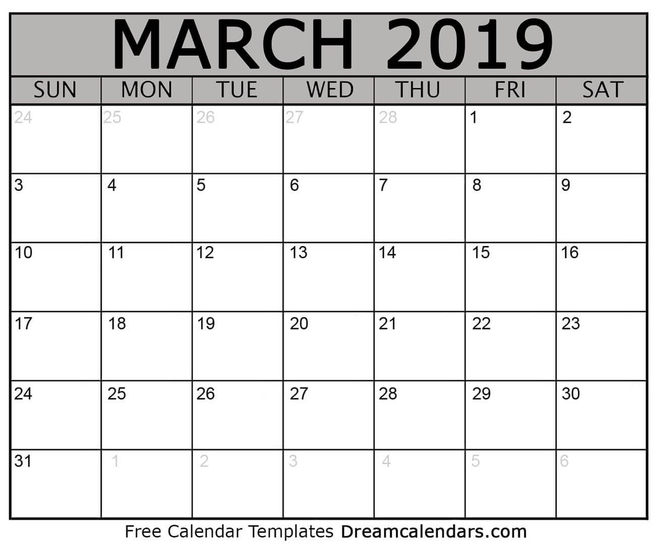 Free March 2019 Printable Calendar   Dream Calendars