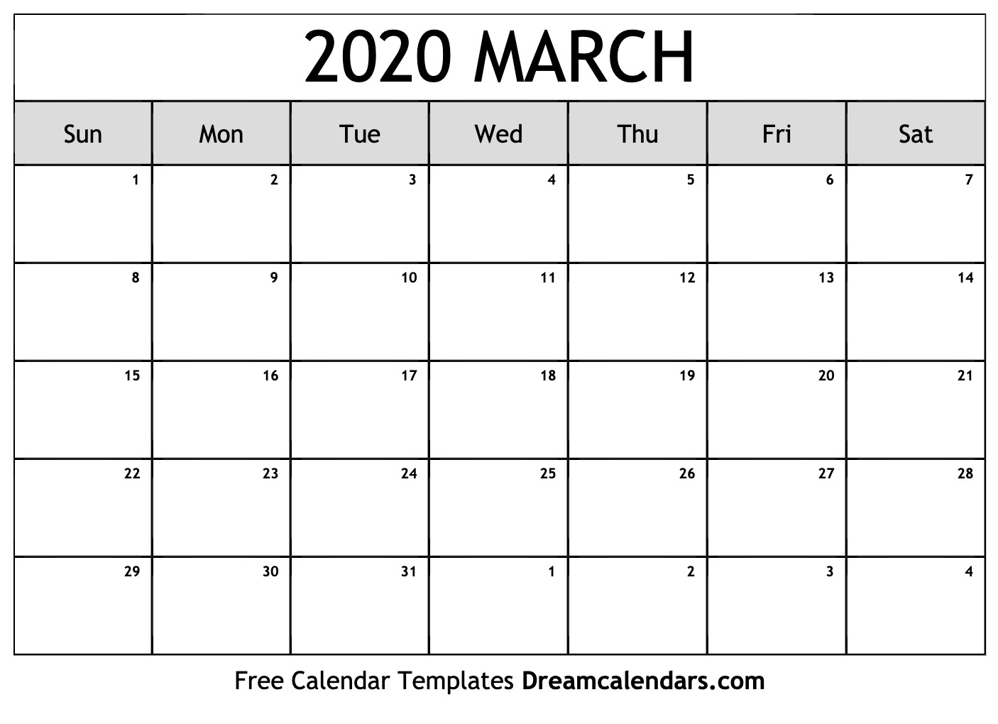 Free March 2020 Printable Calendar | Dream Calendars