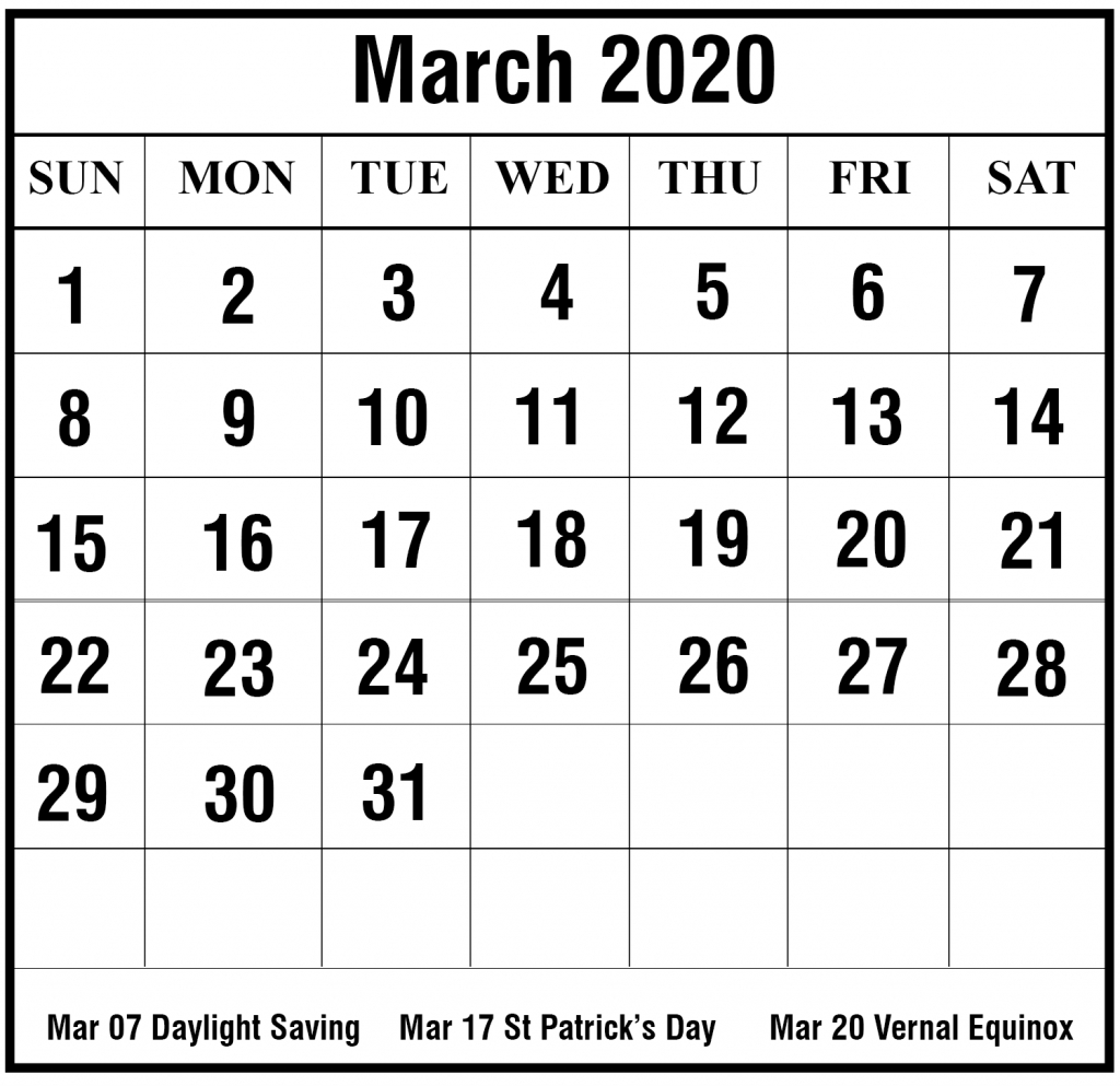 Free March 2020 Printable Calendar Template In Pdf, Excel