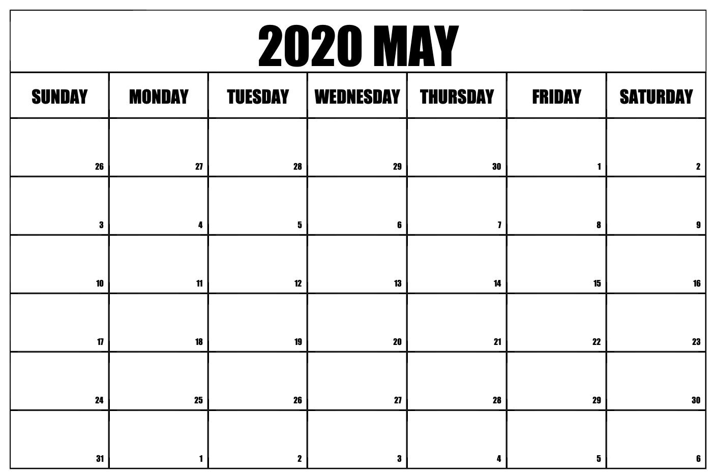 Free May 2020 Calendar – Blank Printable Template