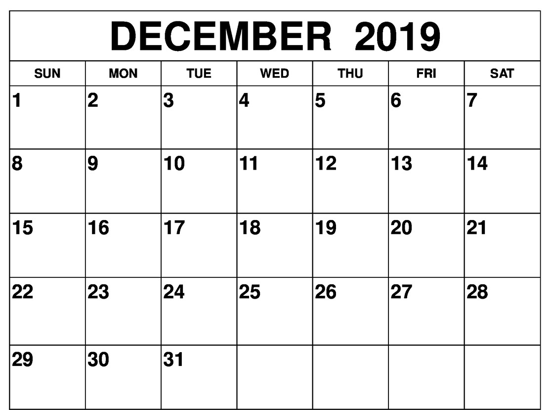 Free Monthly Blank December Calendar 2019 Printable Template