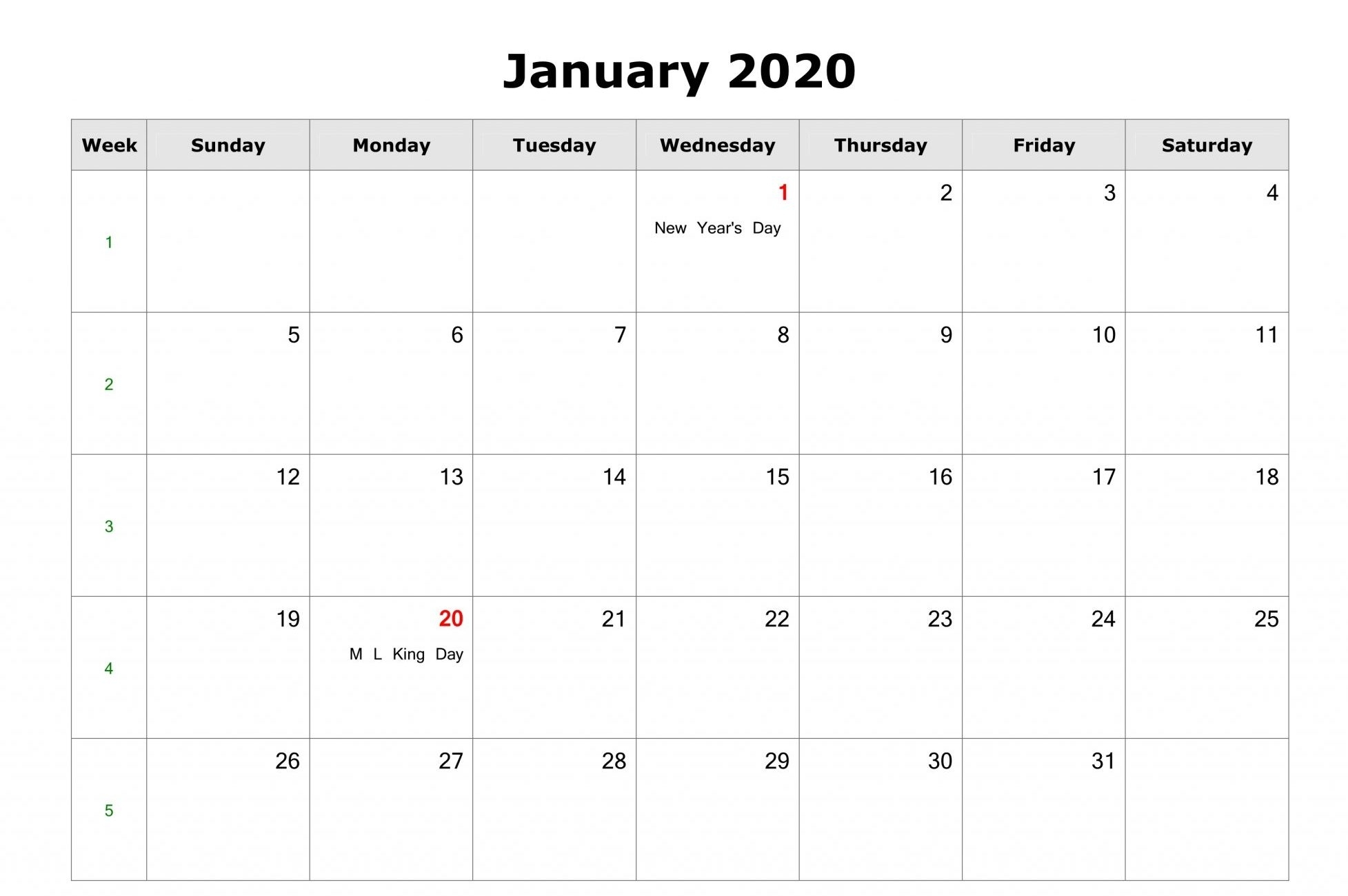 Free} Monthly January 2020 Calendar Pdf Word Excel Page