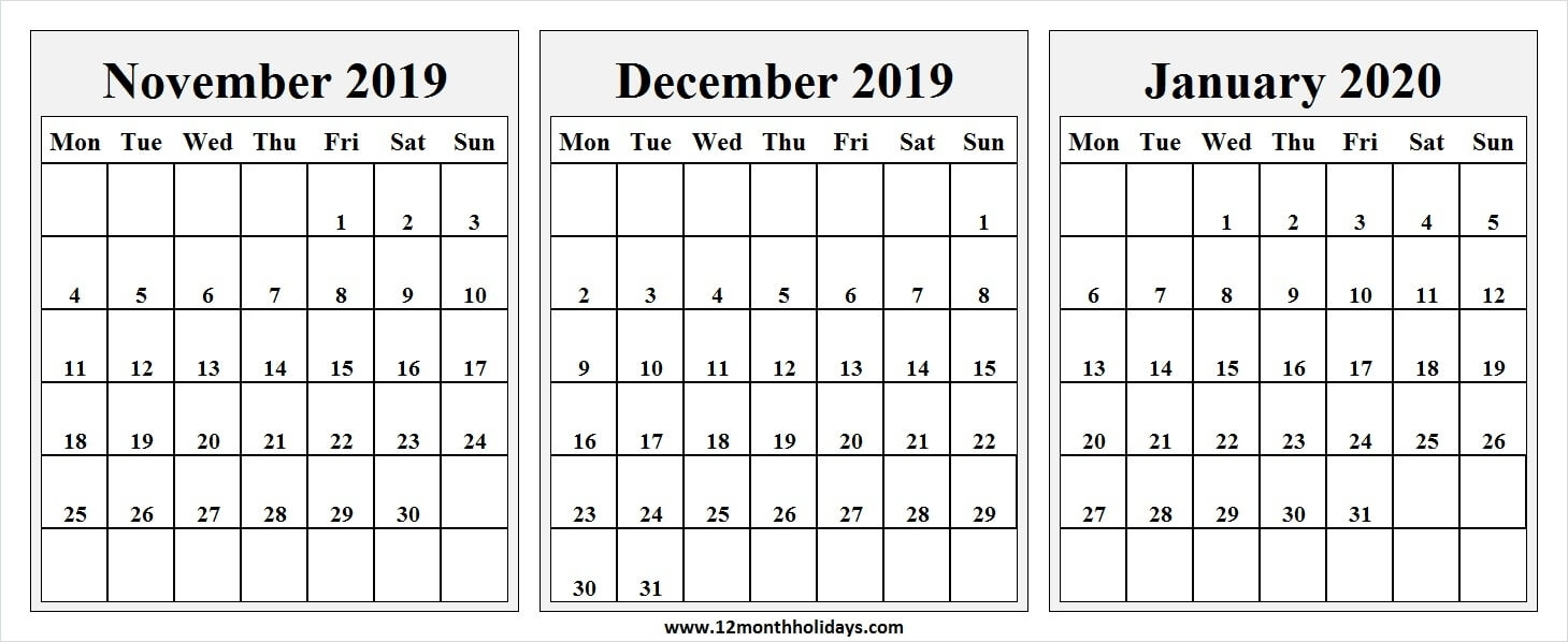 Free November December 2019 January 2020 Calendar Free Printable