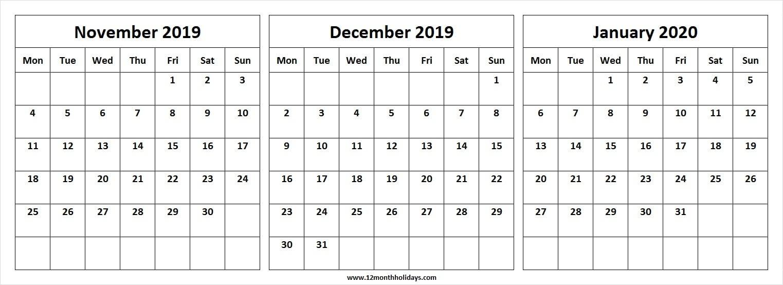 Free November December 2019 January 2020 Month Calendar