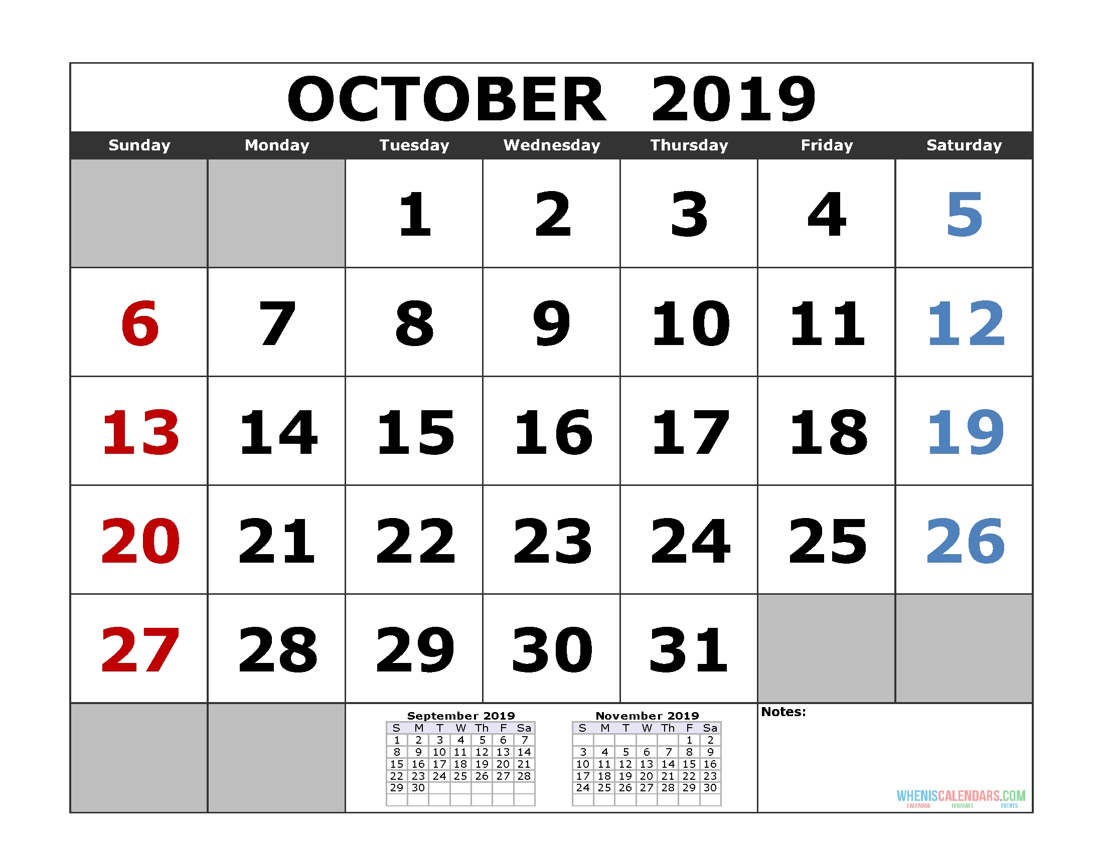 Free October 2019 Printable Calendar Templates [Us. Edition