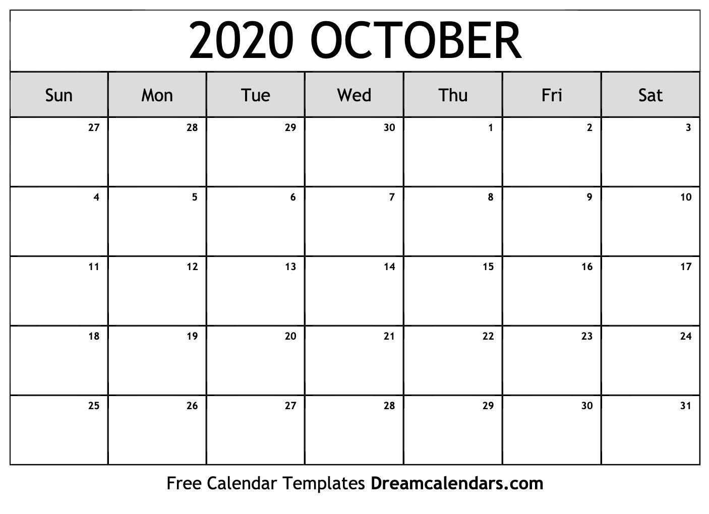 Free October 2020 Printable Calendar | Dream Calendars
