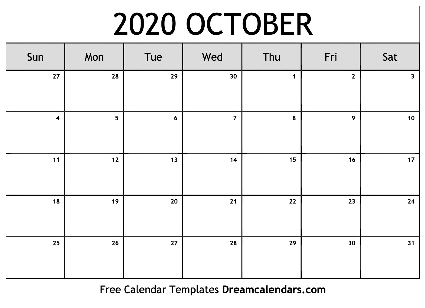 Free October 2020 Printable Calendar | Dream Calendars