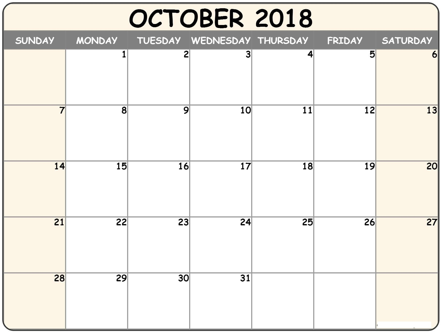 Free October Calendar 2019 Printable Templates Blank With