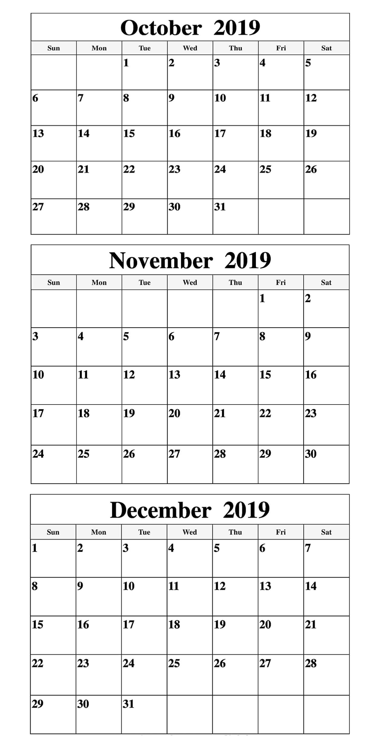 Free October To December 2019 Calendar | Free Printable
