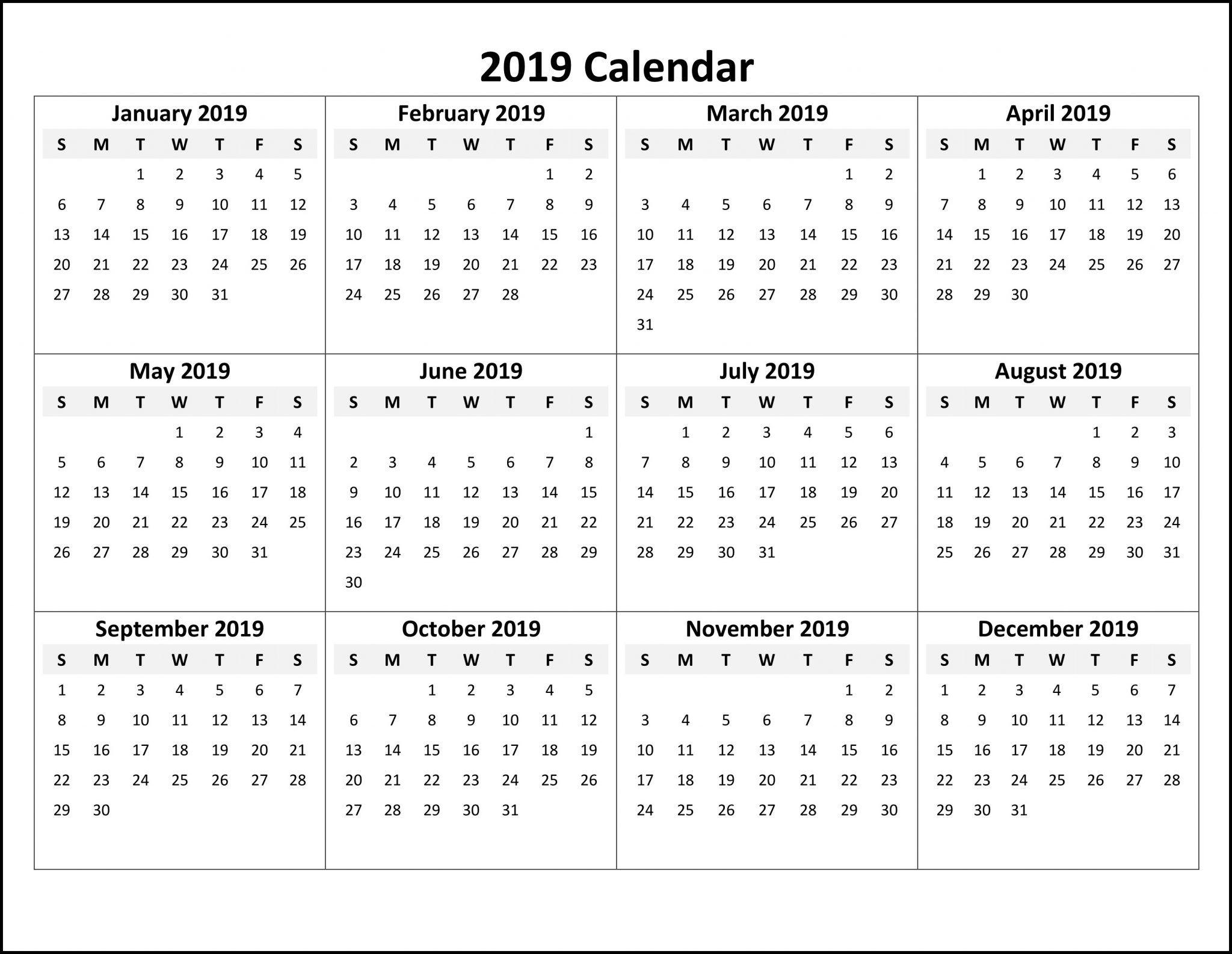 Free Online Printable Calendar 2019   Monthly Calendar