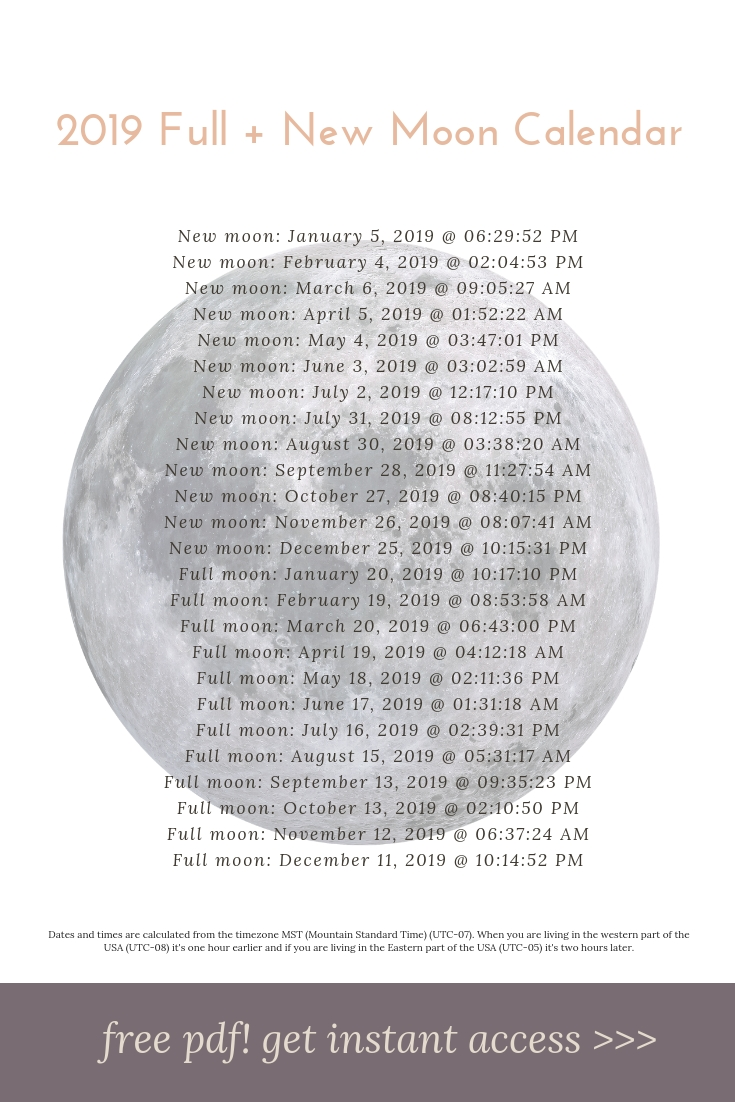 Free Pdf** Moon Phases Calendar 2018 + 2019. Download This