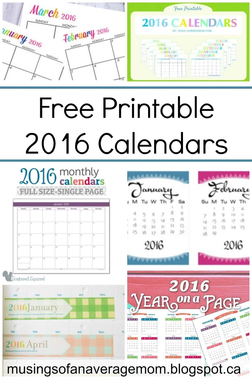 Free Printable 2016 Calendar Round-Up