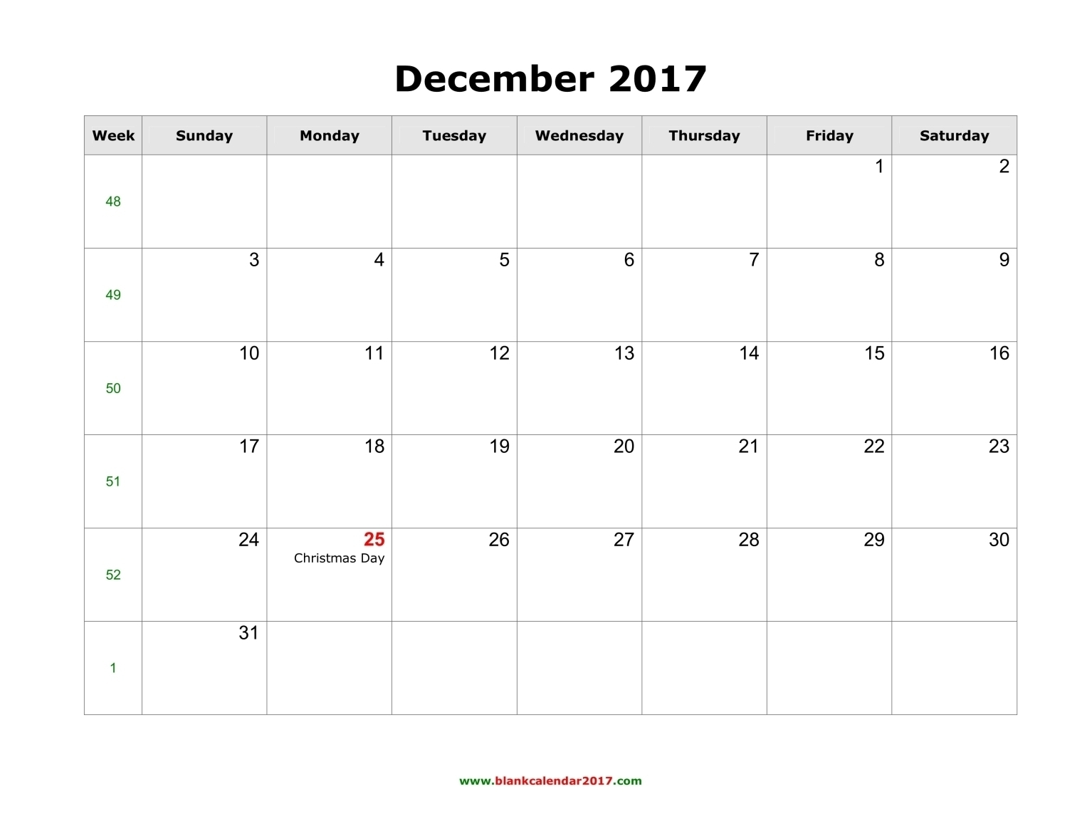 Free Printable 2017 December Calendar | Latest Calendar