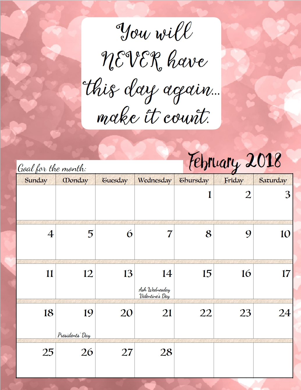 Free Printable 2018 Monthly Motivational Calendars