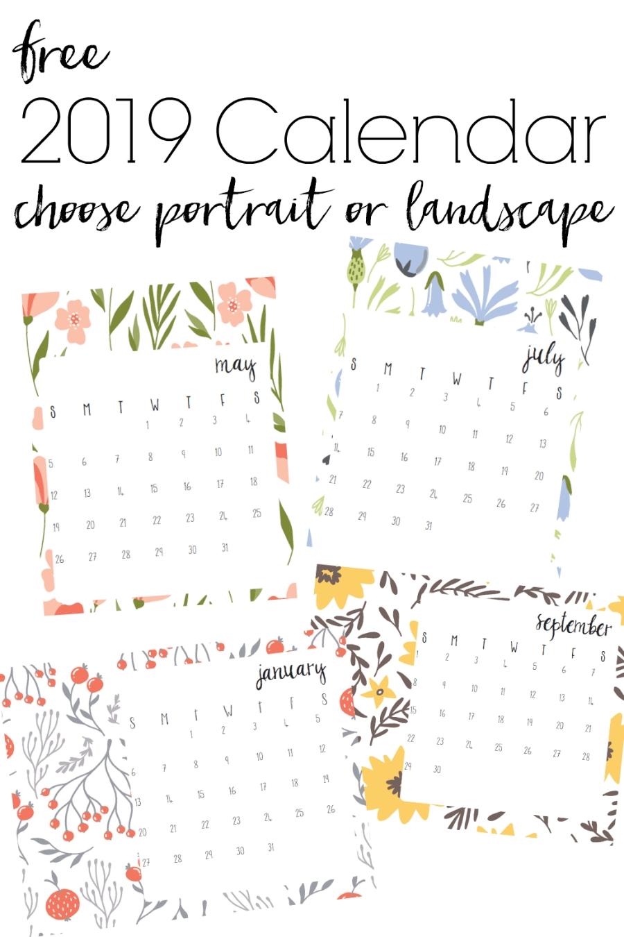 Free Printable 2019 Calendar With Modern Floral Print