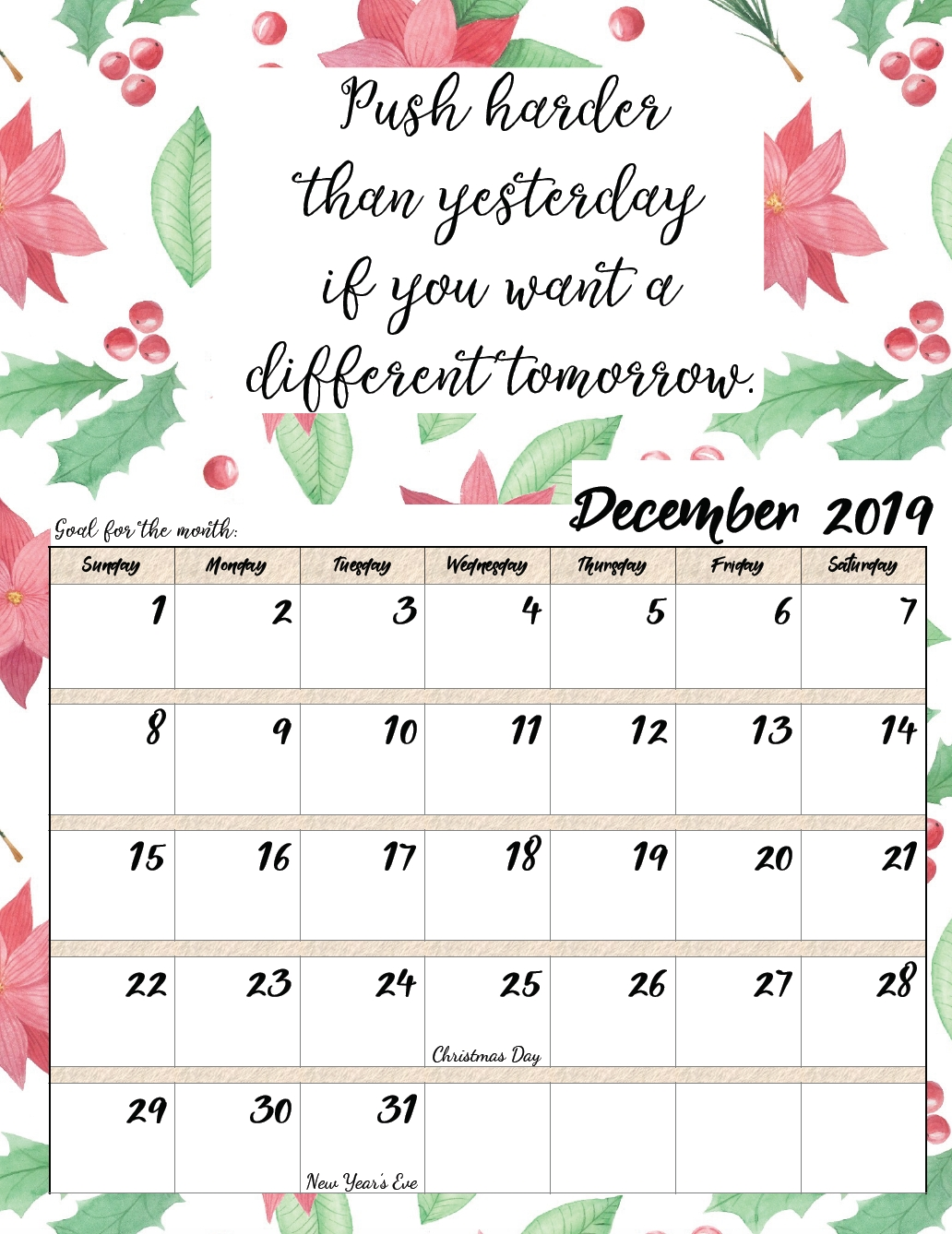 Free Printable 2019 Monthly Motivational Calendars
