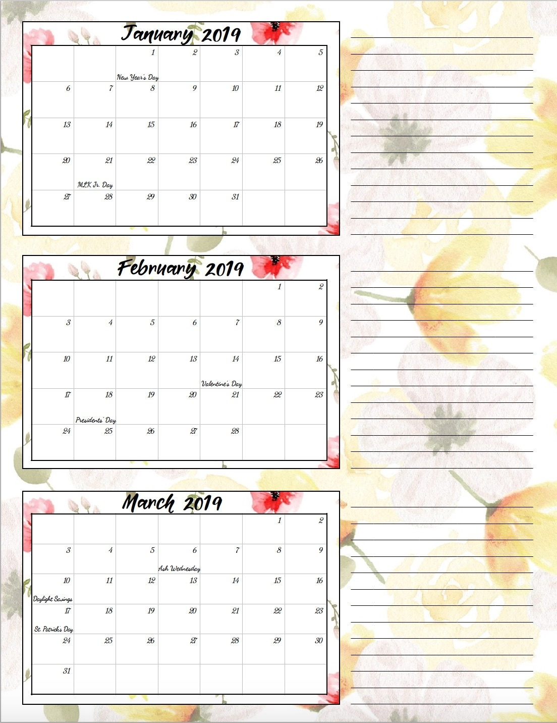 Free Printable 2019 Quarterly Calendars With Holidays: 3 Designs