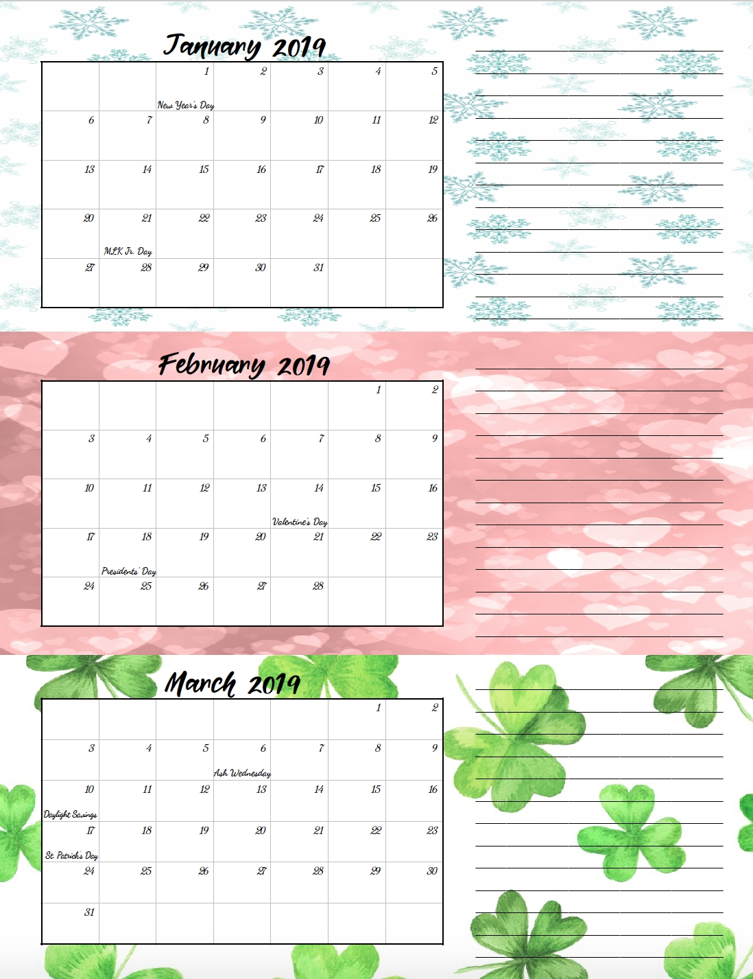Free Printable 2019 Quarterly Calendars With Holidays: 3