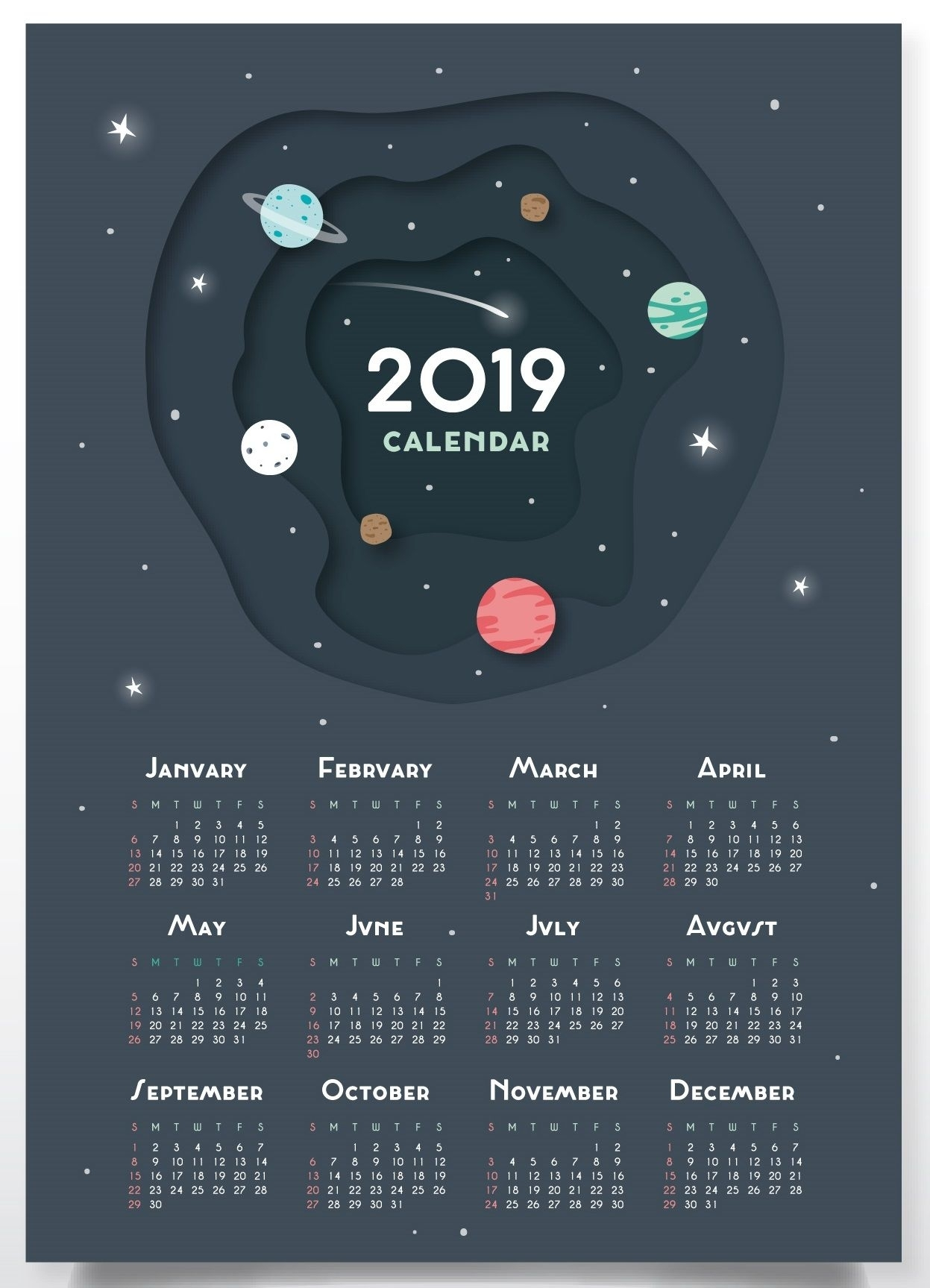 Free Printable 2019 Wall Desk Calendars Designs | Free