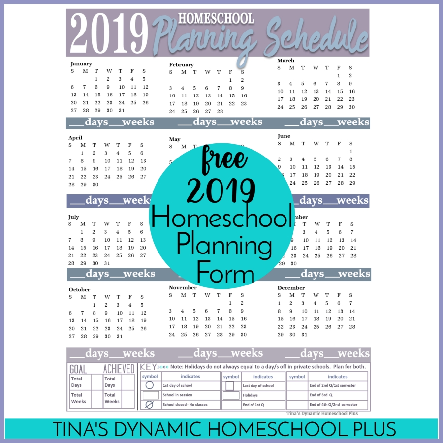 Free Printable 2019 Year-Round Homeschool Planning Form