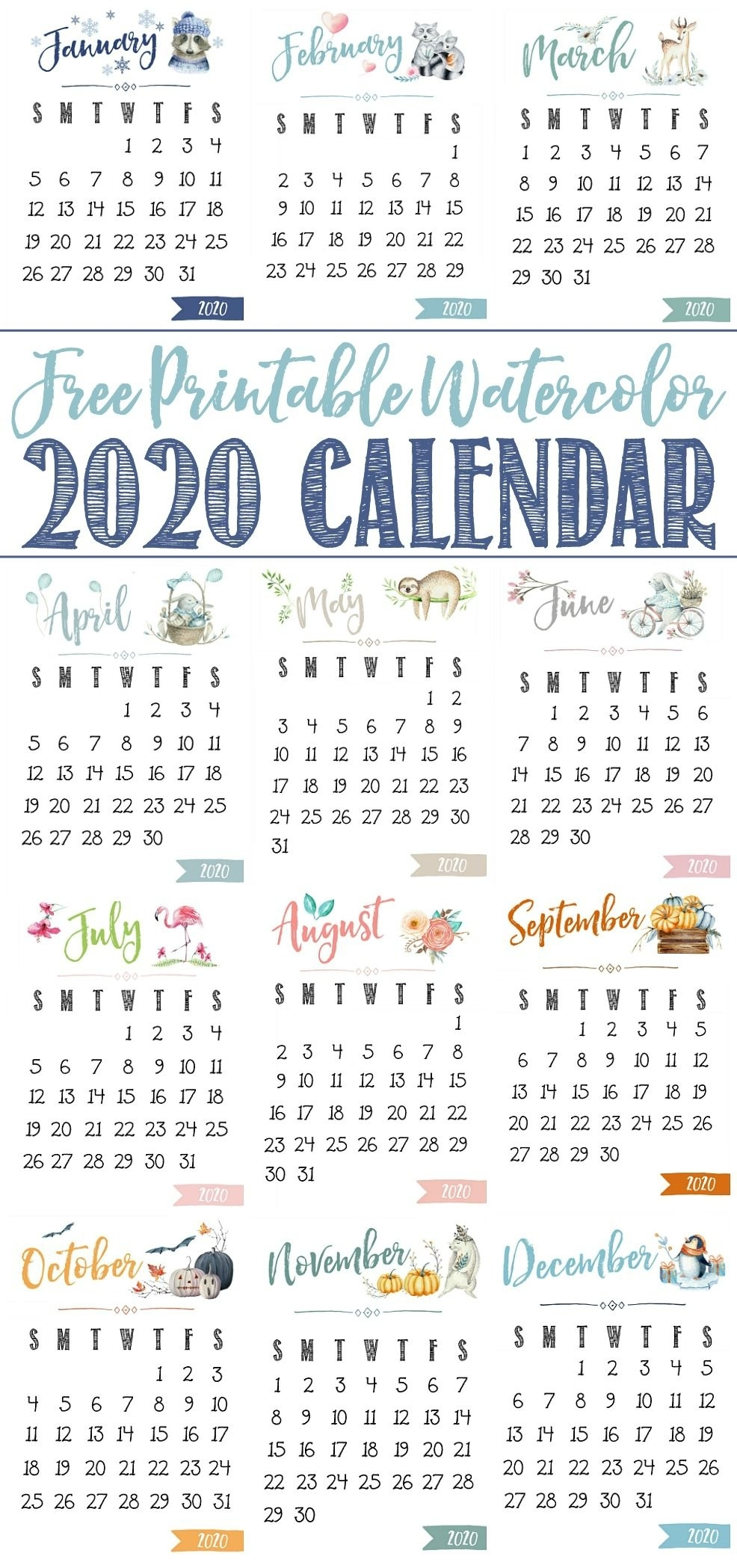 Free Printable 2020 Calendar | Free Printable Calendar, Free