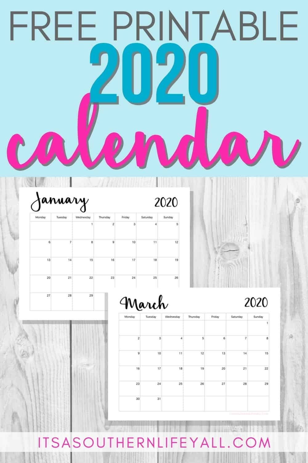 Free Printable 2020 Calendar - It's A Southern Life Y'all