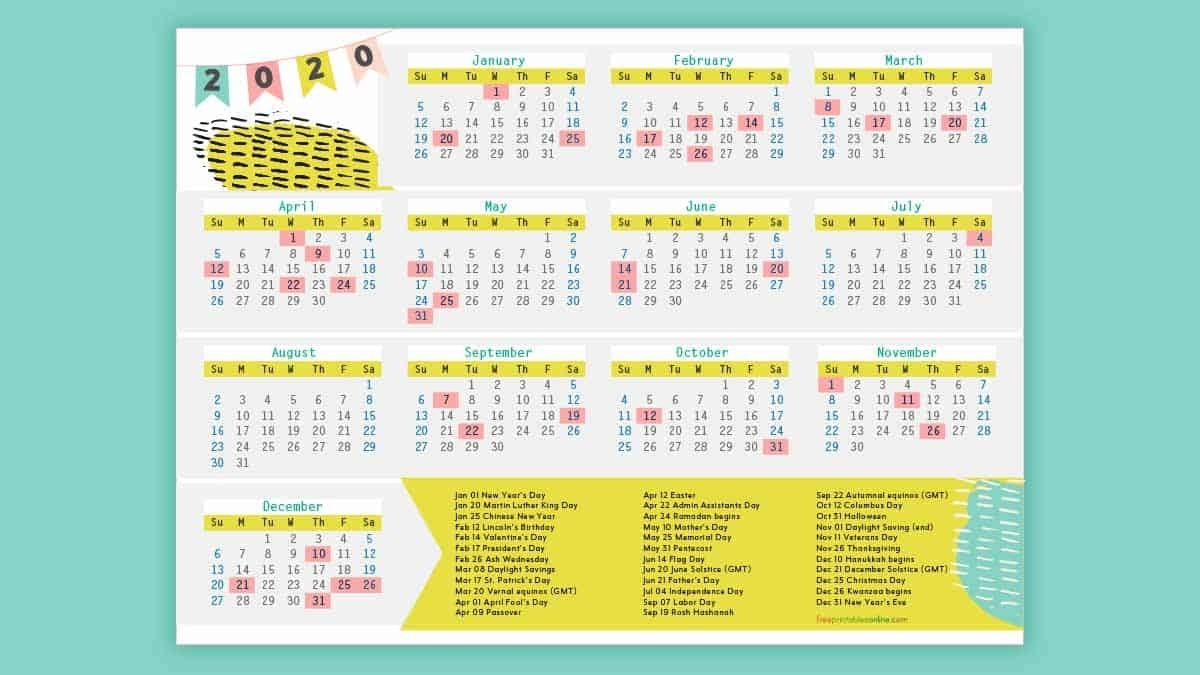 Free Printable 2020 Calendar With Holidays - Free Printables