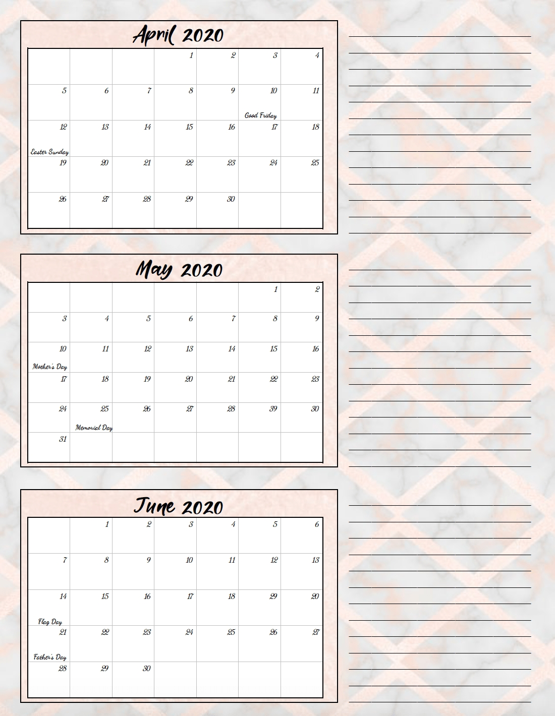 Free Printable 2020 Quarterly Calendars With Holidays: 3 Designs