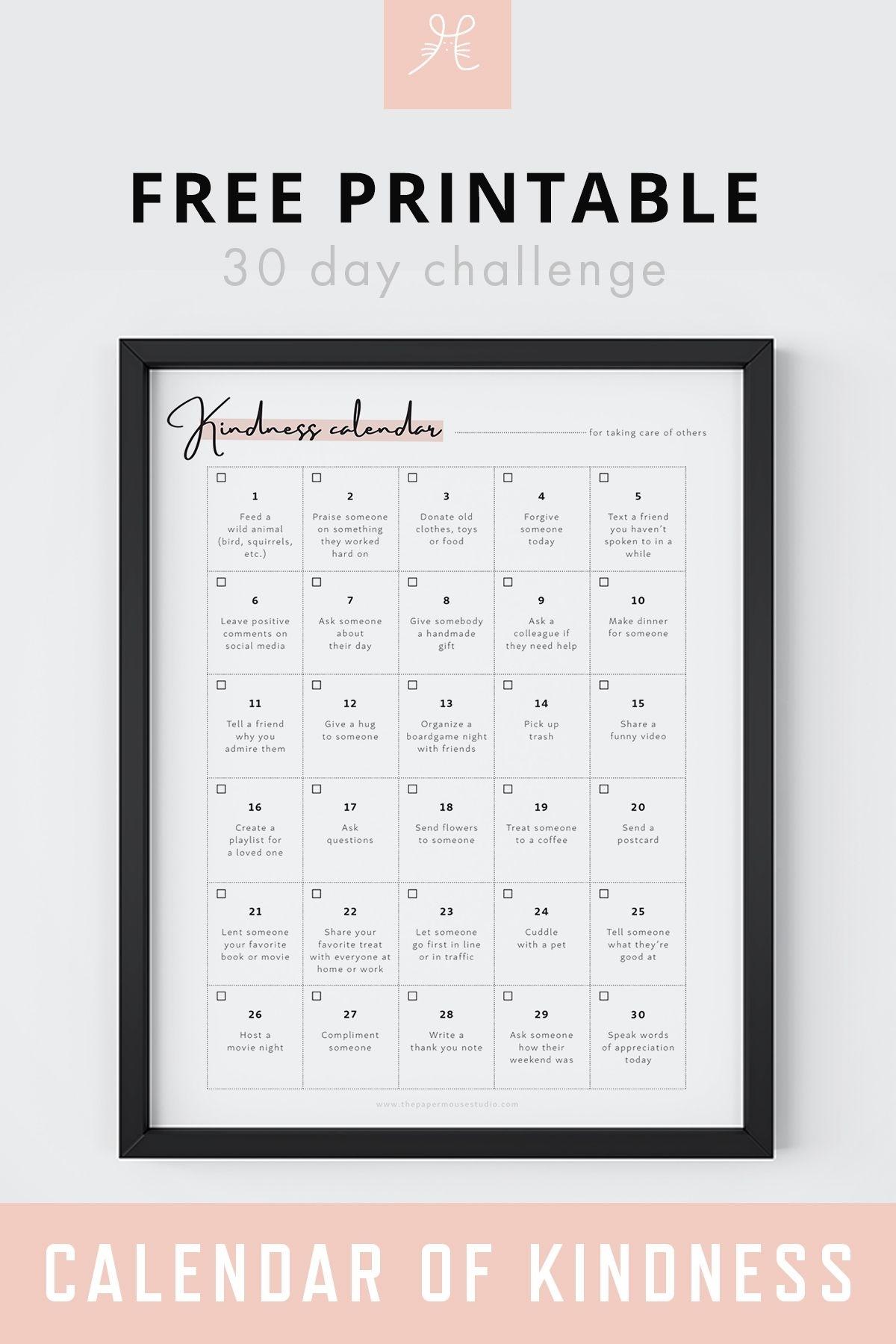 Free Printable 30 Day Challenge Calendar Of Kindness