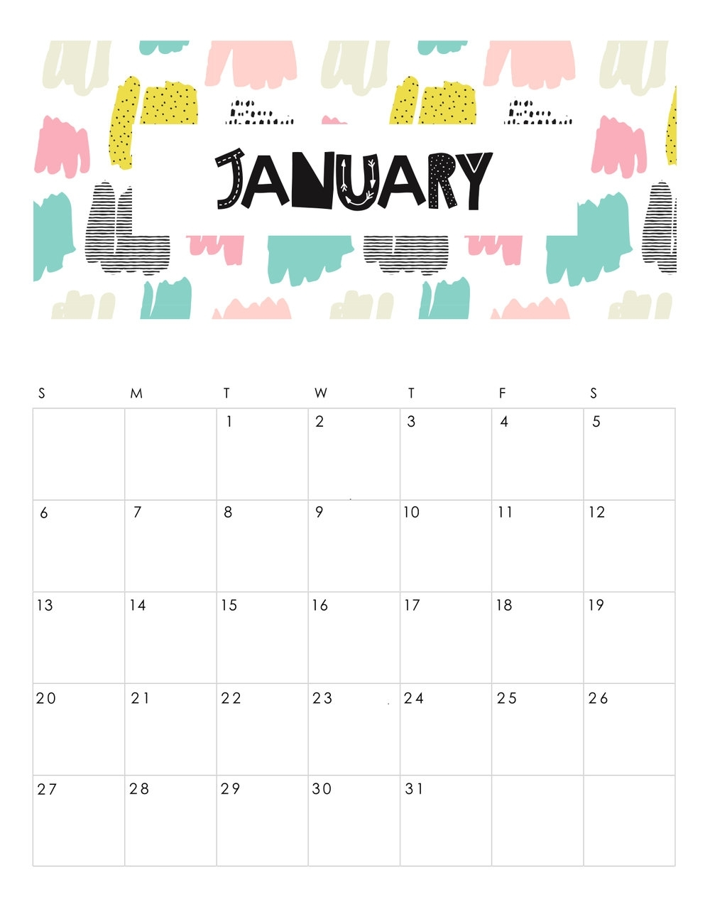 Free Printable Abstract Patterned 2019 Calendar. — Gathering