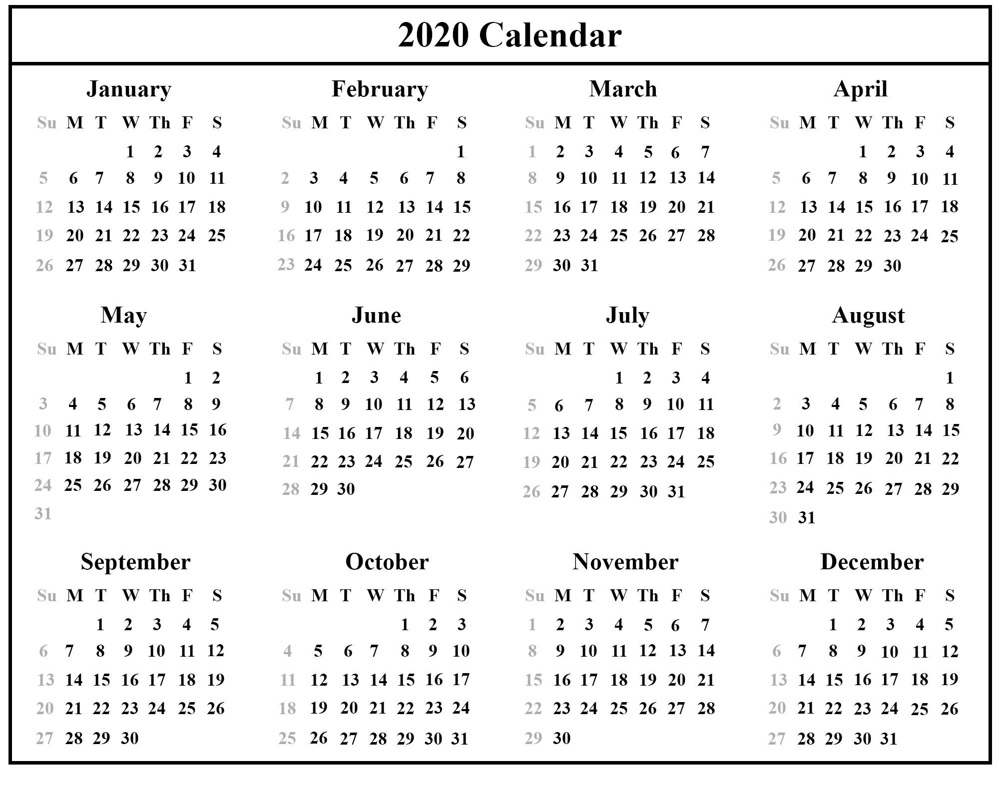 Free Printable Australia Calendar 2020 In Pdf, Excel & Word