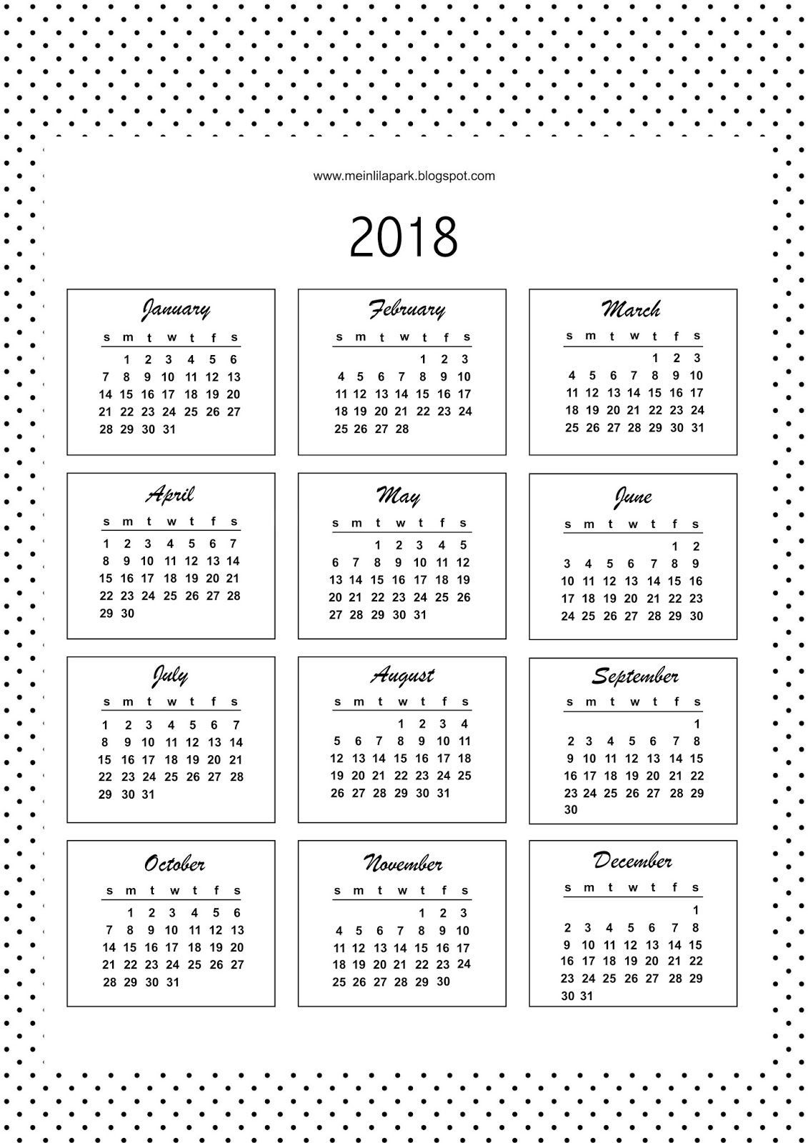 Free Printable Bullet Journal Calendar Cards 2018 | Bullet