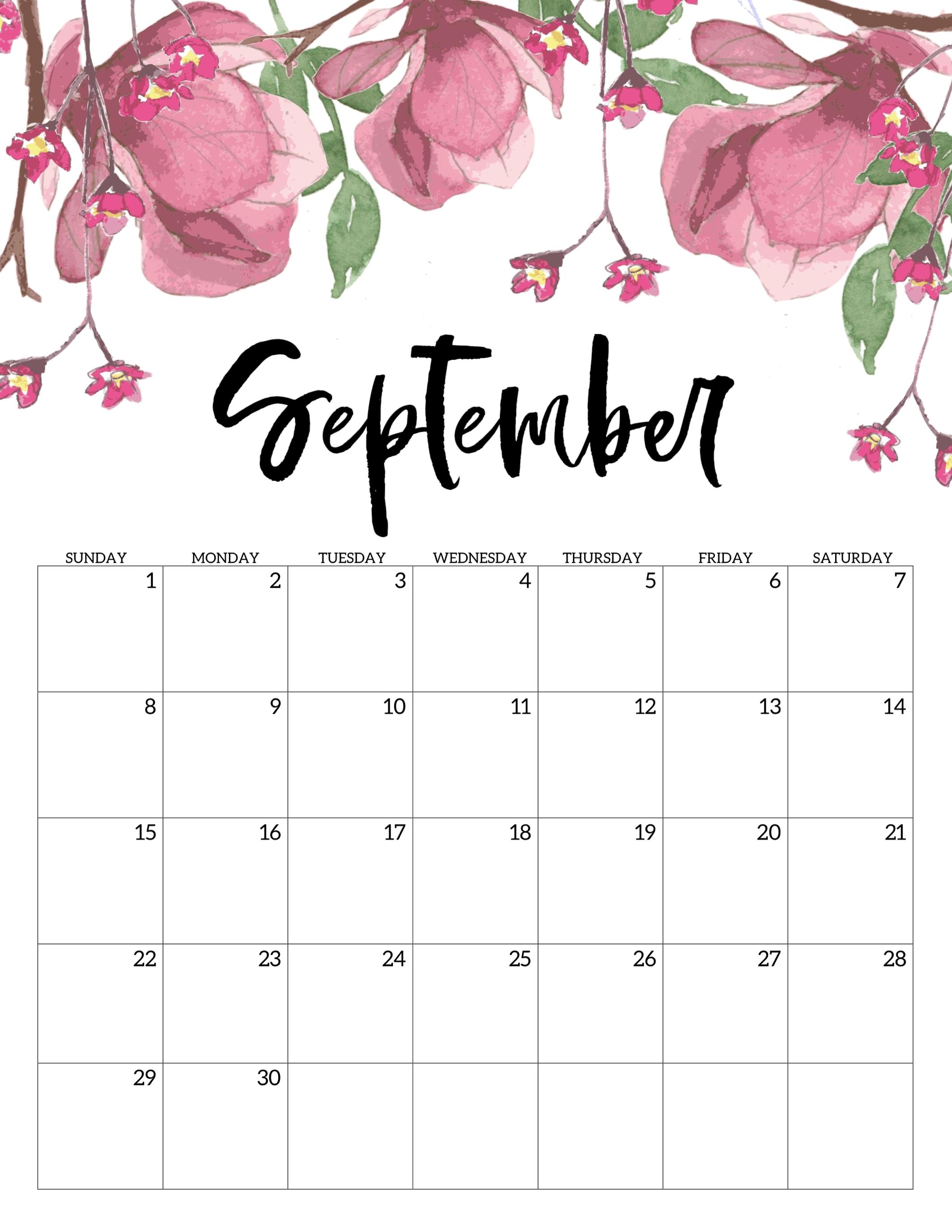 Free Printable Calendar 2019 - Floral - Paper Trail Design