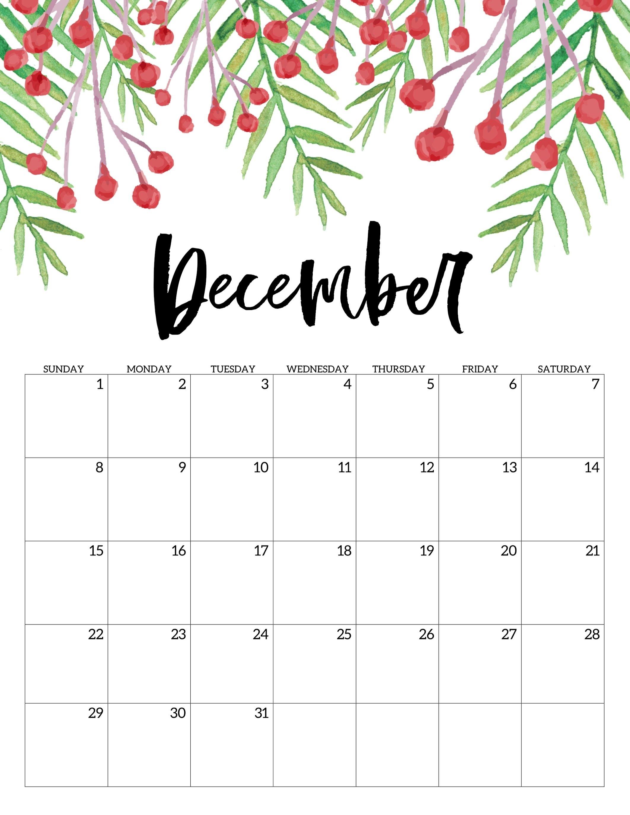 Free Printable Calendar 2019 - Floral | Print Calendar, Free
