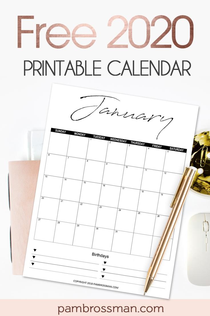 Free Printable Calendar 2020 - Pam Brossman